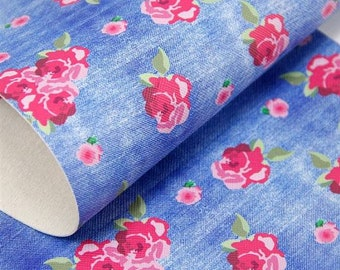 Dark Blue Jean Floral Faux Leather Sheet