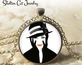 "Lady in Black and White Necklace - 1-1/4"" Circle Pendant or Key Ring - Wearable Photo Art Jewelry - Female, Woman Artistic Illustration Gift"