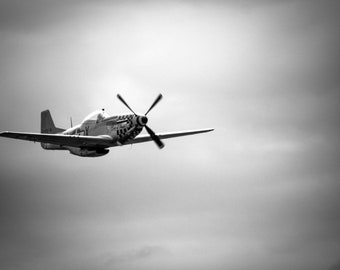 "Military Aircraft Fine Art Print, Historic Fighter Plane Photography, WWII Aircraft Wall Art, USAF Vintage Photograph, ""P-51D Mustang"""