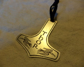 Etched Nickel Silver Thor's Hammer Ornament