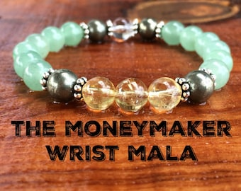 The Money Maker Bracelet, Prosperity Jewelry, Healing Crystals, Green Aventurine, Pyrite & Citrine, Abundance + Wealth + Success