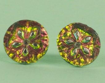 Multi Tone Czech Glass Post Earrings
