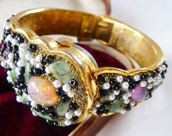 Bejeweled Crawford hinged hidden watch bangle   hinged clamper bypass watch bracelet   analog mystery watch   Swiss 21 jewels wind up   runs