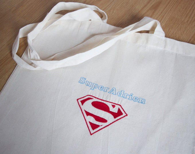 "Tote bag embroidered ""Superman"""