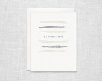 Bienvenue Bebe Letterpress Card - New Baby, Baby Shower, Baby Boy, Baby Girl