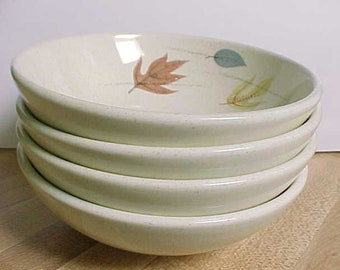 1950s Franciscan Autumn Fruit or Dessert Bowls, 4 Mid Century Collectible California Pottery Dinnerware, Fall Colored Wind Blown Leaves