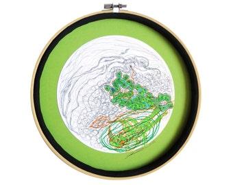 """Dessin moderne : """"Les combles de Riouic"""" techniques mixtes, mandala, décoration originale, art intuitif, déco cercle, pièce unique"""