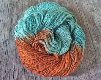 OOAK Buried Treasure - Thick and Thin Cotton Yarn - DK or Worsted Equivalent - Hand Dyed Cotton Yarn - Worsted Weight Yarn - Copper Patina