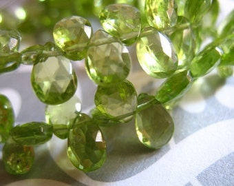 PERIDOT Briolettes Pear, 6-8 mm, Luxe AAA, Petite Apple Green, faceted,  August birthstone wholesale beads 68