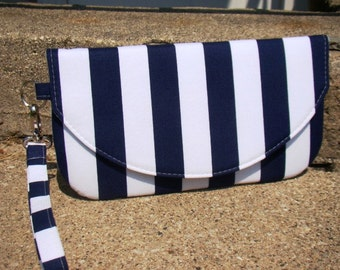 Navy Stripes Set of Bridesmaids Clutches, Navy Custom Clutches, Nautical Bridesmaids Gifts,  Navy Bridesmaids Bags, Custom Made Clutches