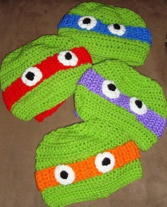 Crochet Teenage Mutant Ninja Turtle Hat Custom 6 12m 18 24m