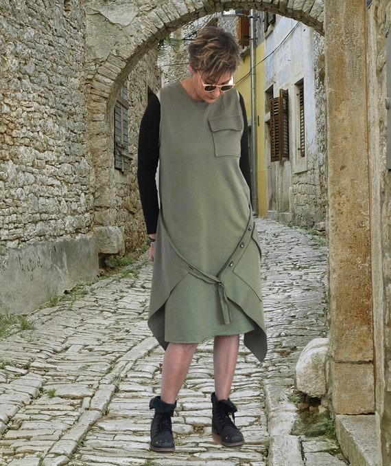 Maxi Spring Pinafore Dress, Oversized Buttons Military Apron, Sleeveless Abaya Dress, Pinafore Caftan Dress, Lagenlook Apron Dress