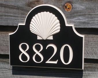 House Numbers Address Plaque Custom Coastal 3 D Seashell Engraved
