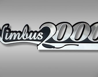 Harry Potter Nimbus 2000 Car Emblem - Chrome Plastic Not a Decal / Sticker