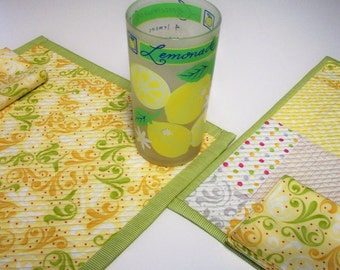 Citrus Placemats Napkins Quilted Cheerful Sunkissed Citrus Yellow Green Orange Gray Set of 2 Reversible Quiltsy Handmade FREE U.S. Shipping