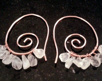 Moonstone and Copper Earrings