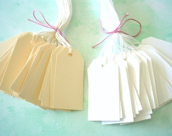 PrestrungTags - Small Oblong Tags -IVORY - FREE Secondary Shipping