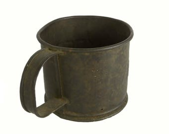 Antique Tin Cup, Embossed With Name, Military Tin Cup, Civil War Re-Enactor, D.E. Snyder, Tin Cup with Hole
