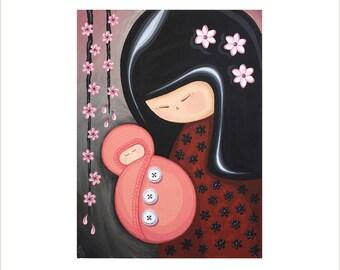 Japan Doll Mother and Baby Art, Creative Kokeshi Canvas Painting, Japanese Kokeshi Doll Artwork, Pink Kokeshi Doll Baby Original Painting