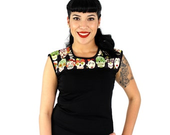 CLOSEOUT SALE!! Frida Day of the Dead and Vintage Inspired Black Top