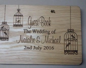 Wooden Guestbook.  Personalised with your names and date of wedding with 50 pages inside Unique design
