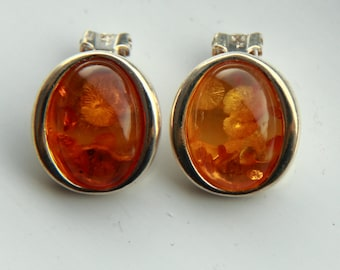 Amber Clip-on Earrings, 925 Silver