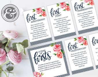 A Year of Firsts - Wine Basket Milestone Tags INSTANT DOWNLOAD (for 6 bottle basket) - Wedding Gift, Bridal Shower Gift