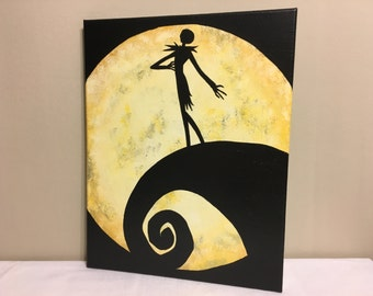 """""""Jack's Lament""""  Painted Canvas Inspired by Tim Burton's The Nightmare Before Christmas"""