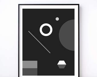 Soirée No. 1 Monochrome Geometric Print. Monochrome Print. Geometric Poster. Wall Art. Home Decor. Living Room Decor. Abstract Art. Shapes.