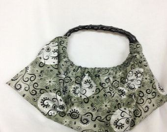 Medium Black Fabric Purse or Tote with bamboo handles, Knit, Crochet, Craft Project Bag