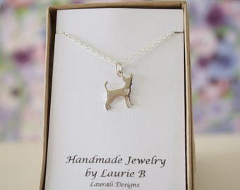 Chihuahua Charm Necklace, Friendship Gift, Sterling Silver, Bestie Gift, Dog Charm, Animal Lover, Chihuahua Love Charm, Thank you card