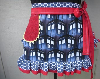 Womens Aprons - Dr Who Aprons - Etsy Aprons - Police Box Dr. Who Aprons - Doctor Who Womens Aprons - Annies Attic Aprons - Blue Aprons