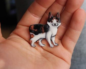 Manx Calico Cat Magnet: great gift for cat lover for locker fridge or car