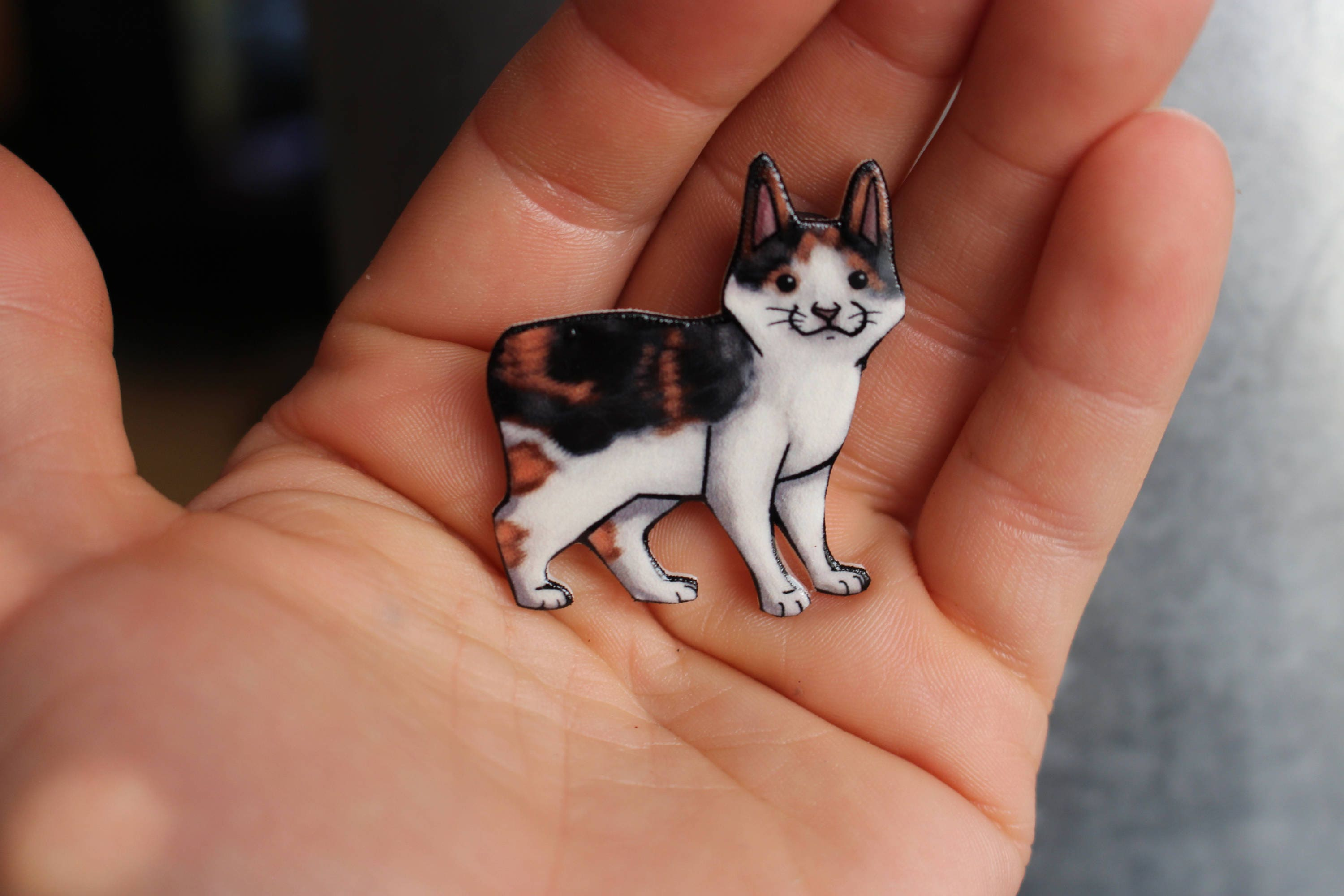 Manx Calico Cat Magnet: great gift for cat lover for locker
