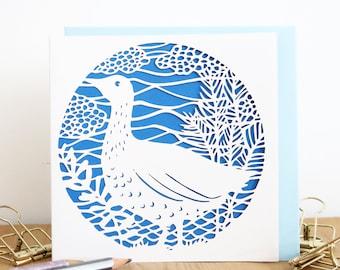 Birthday papercut card, Goose illustration card, Duck illustration card, Countryside card, Cute papercut card, Animal papercut card, Goose