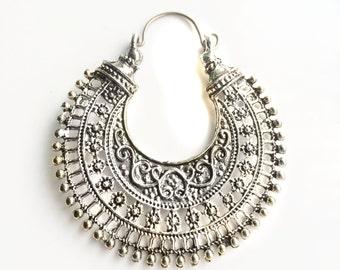 Silver Hoop Earring- Bohemian jewelry- Crescent Earring-Hippie- Filigree Earring- Gypsy Jewelry - Hoop Earrings Tribal Kuchi Jewelry YEH127S