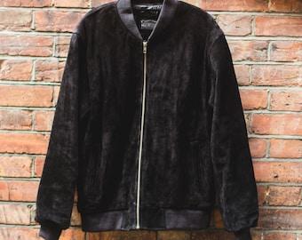 Vintage Renewal 80's Style Suede Bomber Jacket (Black)