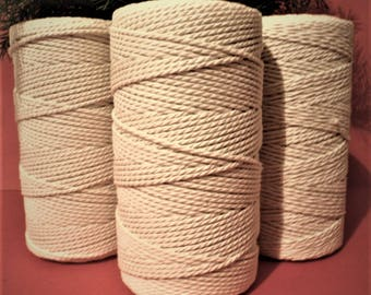 3 pieces 2 mm Natural cotton twisted cord ( 1 piece  150 m long) for Macrame,home, garden, office, sewing, decor, wedding, wrapping, crafts.
