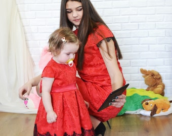 Family look, Mother daughter, matching dresses, Mommy and me look, Matching dresses for mother and daughter, red dress