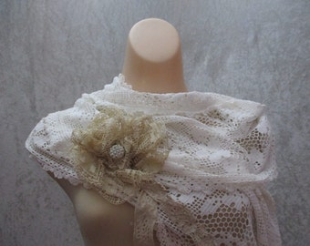 White Vintage Lace Wedding Shawl Cape Bridal Bride Repurposed