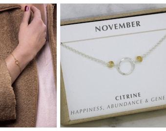 Citrine bracelet for her, November birthstone jewelry, November birthday gift for daughter, goddaughter, sister - Luna