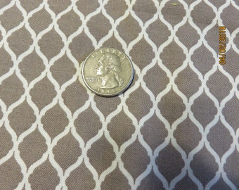 Gray and White Mini Quatrefoil Patterned Fabric-Priced Per 1/2 Yd-Free Shipping
