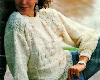 Ladies White 12 ply Jumper Knitting Pattern, instant download pdf, sizes 8 to 16