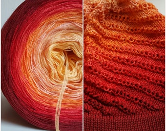 Designer yarn gradient sunset Knitting Crochet handmade