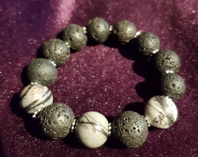 AAA+ Zebra and lava stone bracelet -lava gemstones zebra witch spiritual healing gothic occult pagan wicca