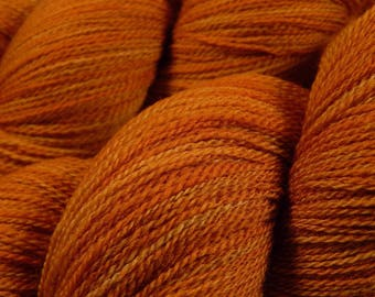 Hand Dyed Yarn, Lace Weight Superwash Merino Wool Yarn - Copper - Indie Dyed Tonal Orange Knitting Yarn, Artisan Hand Dyed Lace Yarn