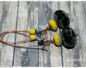 -Earrings for pierced ears-black and wasabi - summer Collection-