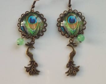 earrings, Peacock and Pearl colored jade