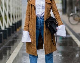 Trenchcoat Brown Leather Jacket Coat,Autumn Womens Winter Coat