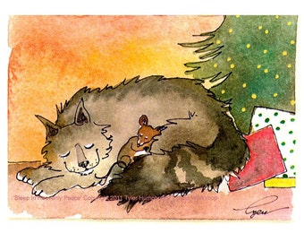 Christmas Card - Christmas Cat Greeting Card - Mouse & Cat Art- Cat Watercolor Painting Illustration Print 'Sleep In Heavenly Peace'